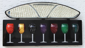 Vidros de vinho coloridos Fotografia de Stock