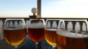 Vidros de vinho com close-up do álcool Movimento lento Gosto da cerveja vídeos de arquivo