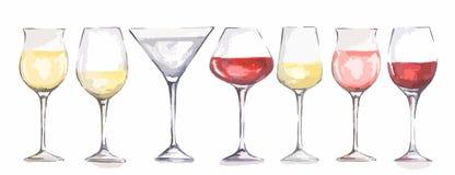 Vidros de vinho da aquarela ajustados Fotos de Stock Royalty Free