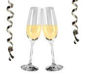 Vidros de vinho espumante - véspera de anos novos Fotografia de Stock