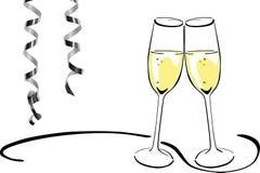 Vidros de vinho espumante - véspera de anos novos Fotos de Stock