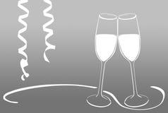 Vidros de vinho espumante - véspera de anos novos Imagem de Stock Royalty Free