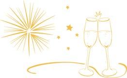 Vidros de vinho espumante - véspera de anos novos Fotografia de Stock Royalty Free