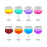 Vidros de vinho isolados ajustados Foto de Stock