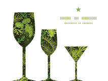 Vidros de vinho sempre-verdes da árvore de Natal três do vetor Fotografia de Stock