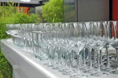 Vidros de vinho vazios Degustation do vinho Fotografia de Stock Royalty Free