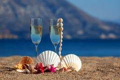 Vidros de vinhos, shell, estrelas do mar Fotografia de Stock Royalty Free