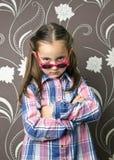 Vidros desgastando da menina bonita Fotografia de Stock Royalty Free
