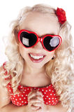 Vidros desgastando do coração da menina engraçada Foto de Stock Royalty Free