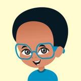 Vidros desgastando do menino do americano africano dos desenhos animados Fotografia de Stock Royalty Free