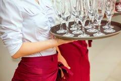 Vidros do champanhe na bandeja Imagem de Stock Royalty Free