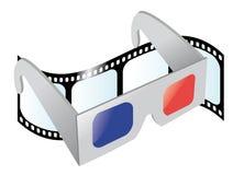 Vidros do cinema 3D ilustração royalty free