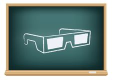 Vidros do cinema 3D da placa Imagens de Stock Royalty Free