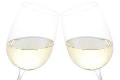 Vidros do Clink com vinho branco Fotografia de Stock Royalty Free