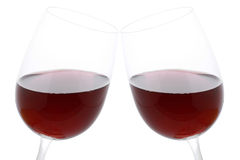Vidros do Clink com vinho tinto Imagem de Stock
