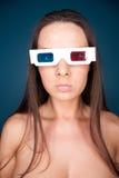 Vidros do filme da mulher 3d Imagens de Stock Royalty Free