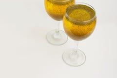 Vidros do suco do açafrão Fotografia de Stock