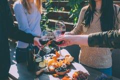 Vidros do tinido dos povos do vinho Fotografia de Stock Royalty Free