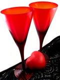Vidros do Valentim com coração Fotos de Stock
