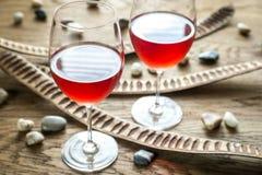 Vidros do vinho cor-de-rosa Imagem de Stock Royalty Free
