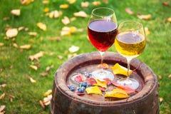 Vidros do vinho vermelho e branco com a uva no tambor de vinho velho fora Fotos de Stock Royalty Free