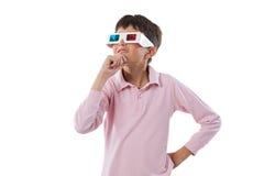 Vidros do whit 3d da criança Imagens de Stock