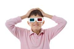 Vidros do whit 3d da criança Fotografia de Stock