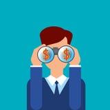 Vidros dos binóculos da posse do homem de negócio com sinal de dólar Fotos de Stock