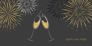 Vidros e fogos-de-artifício do champanhe do cartão dois do ano novo feliz em um fundo cinzento ilustração stock