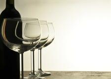 Vidros e frasco vazios de vinho Fotografia de Stock