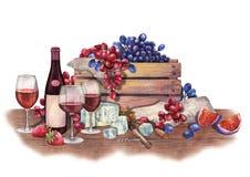 Vidros e garrafa de vinho tinto da aquarela decorados com alimento delicioso fotografia de stock