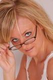 Vidros e modelo do cabelo Imagem de Stock