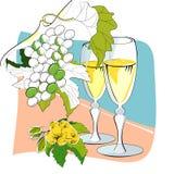 Vidros e uvas de vinho Foto de Stock Royalty Free