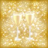 Vidros em um fundo do ouro ilustração royalty free