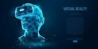 Vidros holográficos da realidade virtual da projeção dos auriculares de VR, capacete Ilustração geométrica do vetor do baixo esbo ilustração do vetor