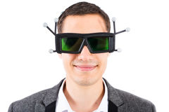 Vidros masculinos de Wearing 3d Vr do coordenador Fotografia de Stock