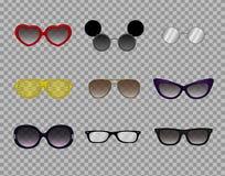 Vidros na moda, eyewear moderno à moda, sistema ótico, óculos de sol ilustração do vetor