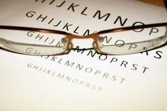 Vidros na parte de trás do teste do olho Fotos de Stock Royalty Free