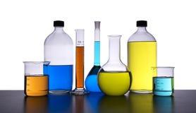 Vidros químicos, fundo do inclinação Imagem de Stock