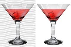 Vidros realísticos transparentes e opacos de martini com o martini ilustração stock