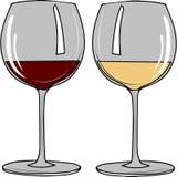 Vidros transparentes ajustados com branco e vinho tinto Foto de Stock