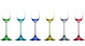 Vidros vazios coloridos do licor Imagens de Stock Royalty Free