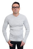 Vidros vestindo confundidos do homem Isolado Imagem de Stock Royalty Free