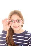 Vidros vestindo da criança fotografia de stock