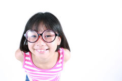 Vidros vestindo da menina asiática bonita Foto de Stock Royalty Free