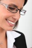 Vidros vestindo da mulher Foto de Stock Royalty Free
