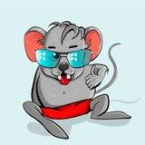 Vidros vestindo do rato dos desenhos animados Foto de Stock Royalty Free