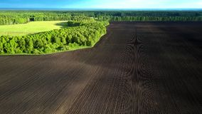 Vidsträckt brun åkermark för övresikt vid den gröna skogen lager videofilmer