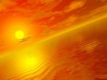 Vidsträcktheten av havet - på solnedgången Royaltyfri Illustrationer