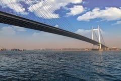 Vidyasagar Set długi kablowy most w India na rzecznym Hooghly Obrazy Stock